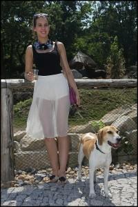 Míša Doubravová s psím mazlíčkem Akordem