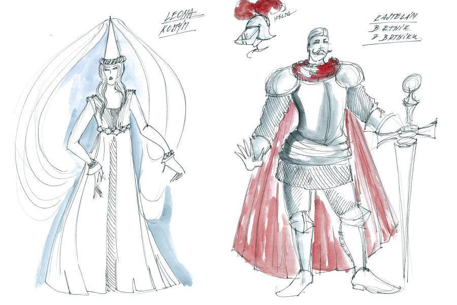 Ukázky kostýmních návrhů Romana Šolce