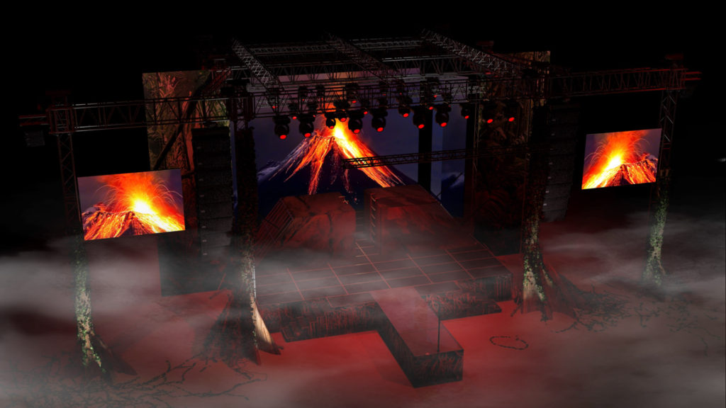 Návrh scény - Sopka fos