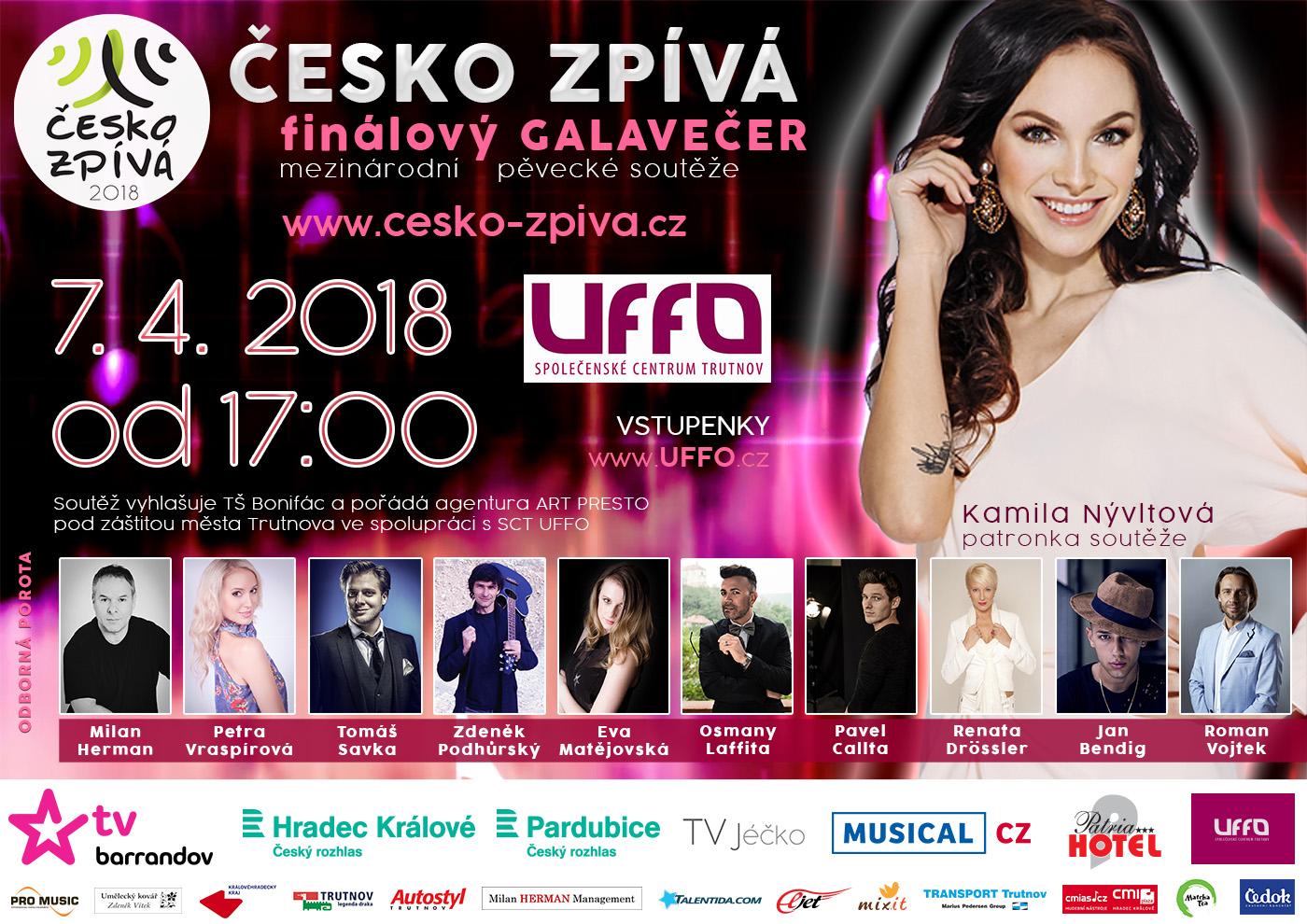 Plakát finálového galavečera ČESKO ZPÍVÁ 2018