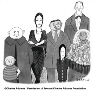 (zleva doprava)Pugsley, Strýček Fester, Morticia, Gomez, Wednesday, sluha Lurch, Grandmama (ilustrační obrázek)