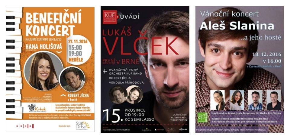 Pozvánky na tři brněnské koncerty