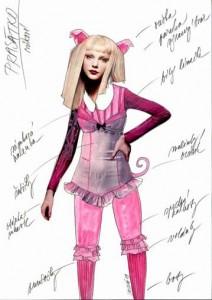 Návrh kostýmu - prasátko (Lucie Loosová)