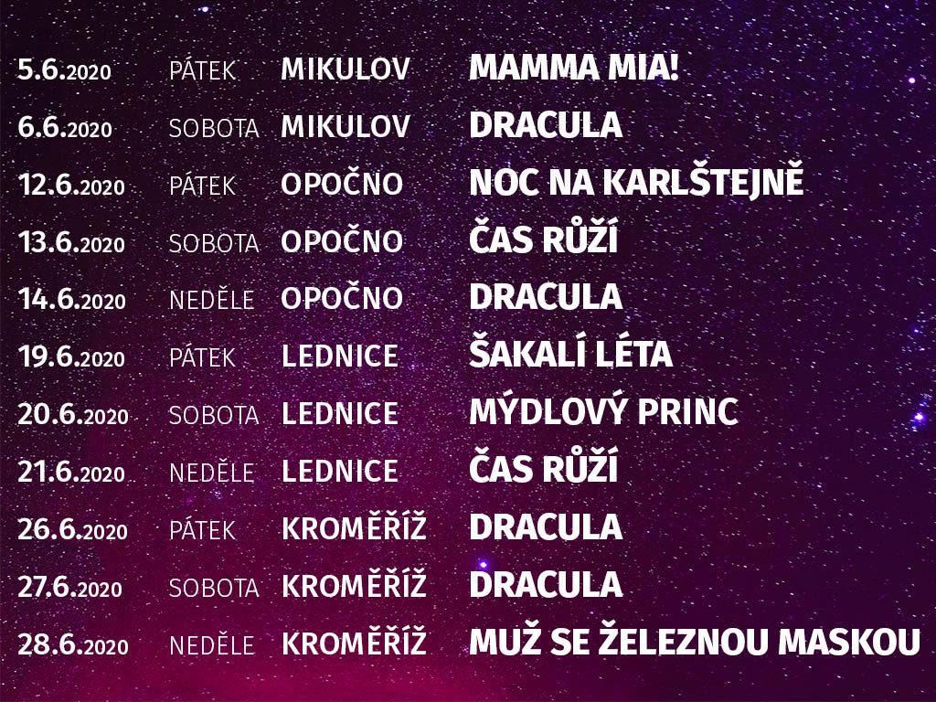 Kultura pod hvězdami 2020 program