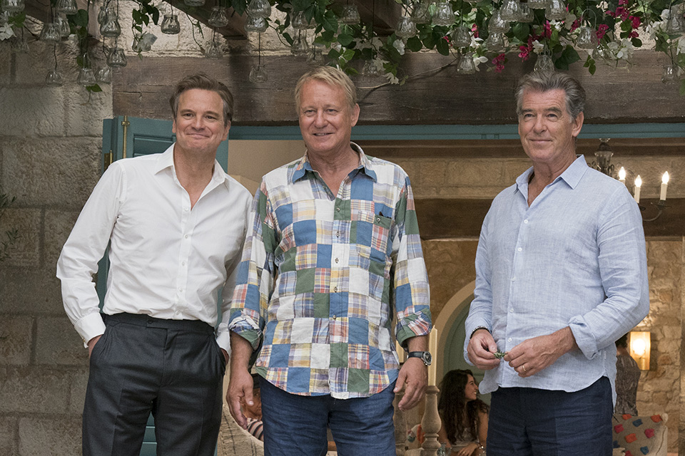 Colin Firth (Harry), Stellan Skarsgård (Bill) a Pierce Brosnan (Sam) Mamma Mia! Here We Go Again