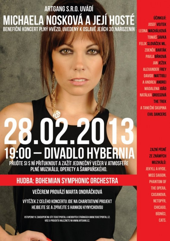 Michaela Nosková oslaví narozeniny velkým muzikálovým koncertem