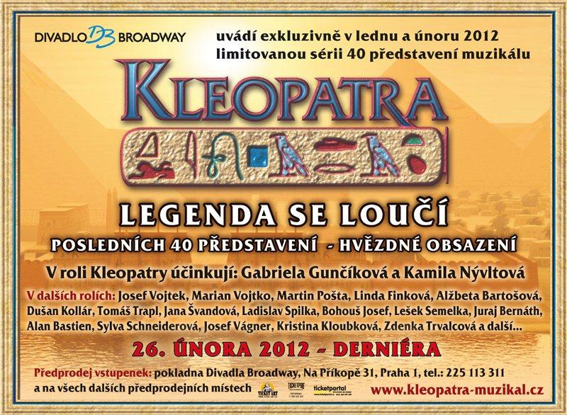 """""""Kleopatra"""" ruší šest představení v únoru 2012"""